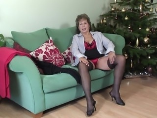 Christmas masturbation adventure of a granny who loves her toys
