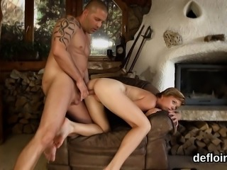 Elegant sweetie spreads wet snatch and gets deflorated