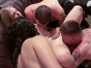 Drunkard pornstar coping with multiple dicks hardcore in group sex
