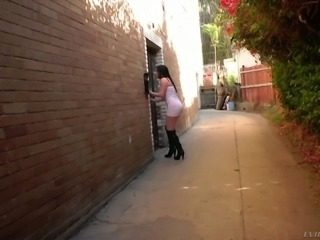 Wicked and curvy brunette blindfolded and fucked with a broom