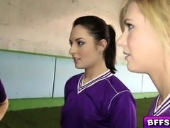Naughty volleyball babes gets wild in a lesbian fuck