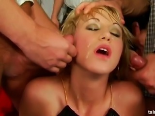 Sexy Glamorous model in clothes gangbanged then pissed on