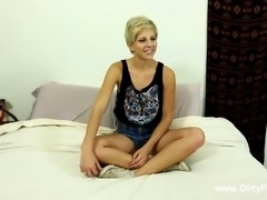 Thin blonde Makenna Blue riding a dick with pleasure
