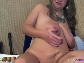 Dirty talking granny with big tits and meat pussy lips is waiting for you
