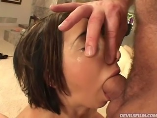 Wild black haired harlot Veronica Jett blows hard cock of her buddy with...