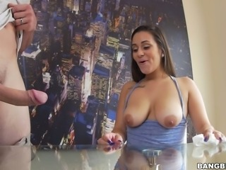 Busty and curvaceous brunette hottie facefucked with a big cock
