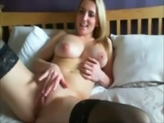Boobalicious side chick masturbating passionately in front of camera