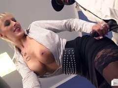 Sexy blonde secretary is ready to taste and receive a black rod