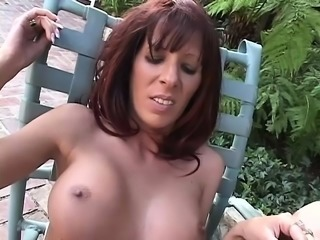 Horny MILF gets eaten out, drilled from behind and rides him outside