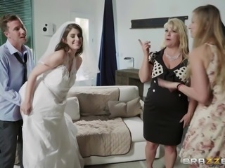 All Karina is trying to do as a new bride, is to get her pussy filled with some cock and a big load of cum. Her friends leave long enough for her to suck her new husband's dick, but they come back again, interrupting the fun.