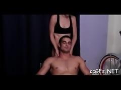 Teen chick sucks and rides knob