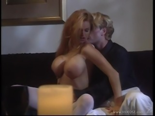 Horny cowgirl with sexy fake tits getting a stunning licking then gives a...