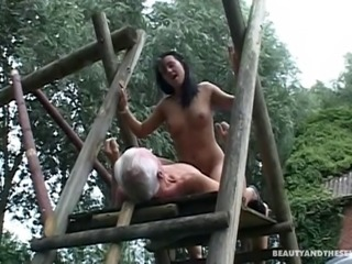 Salacious babe with big natural tits sucking an old man's cock