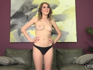 Sexy Kinsley poses naked, eats meat and gets her twat hammered