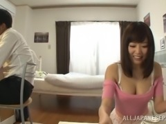 Captivating Asian pornstar having her big tits caressed passionately in...