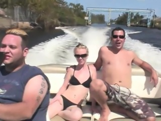 Cute Angie Scott with natural tits blows before being bonked doggystyle outdoor