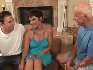 Sweet Charlie is a kinky milf and she has had enough of her old husband's wrinkled cock. Instead, she wants a penis that is big and meaty. She sucks a big black cock, while her husband watches the cuckold sex. Look at how she sucks on that huge black penis.