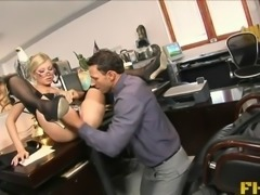 Blonde secretary with glasses gets undressed and fucked