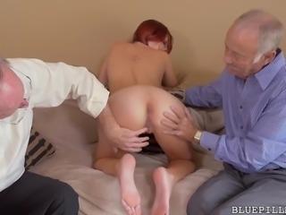 skinny redhead satisfying two old men