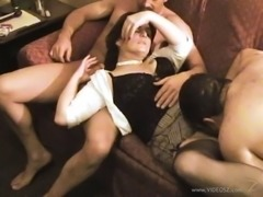 Slutty wife in a hotel room to be shared by two guys