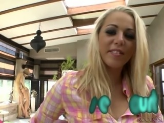 Flexible black haired chick Alexis Brill and delicious blond slut present...