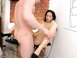 Redhead lets horny guy fuck her pussy