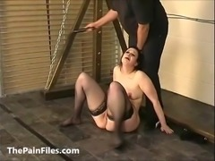 Rough beating and whipping of bbw bdsm slavegirl Emma in amateur domination...