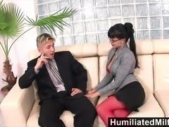 Horny secretary loves a cock up her ass