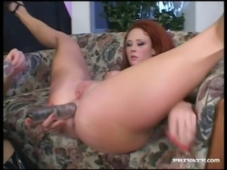 Horny lesbian Audrey Hollander puts her double ended dildo to good use