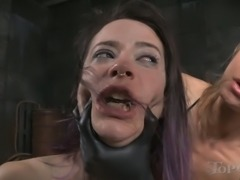 Tied up Freya French fucked in her throat with big strapon