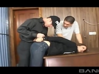 Horny men play with a brunette's stunning dick craving body