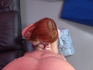 Redhead offers her beautiful shaved pussy for POV sex