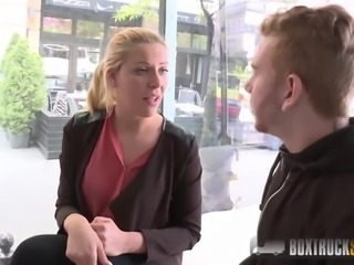 BoxTruckSex - Vivien Blonde fucks and gives a blowjob in public