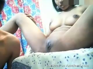 Young hot amateur Indian couple having sex on webcam