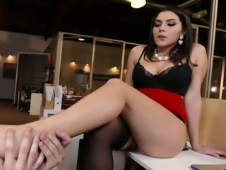 Spoiled Italian hottie Valentina Nappi had steamy oral sex with young kinky boss on office table