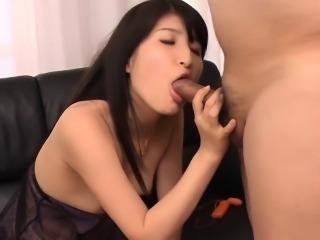 Slutty asian gets gang banged while sucking big dick