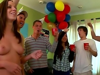 College babes throw a surprise party showing off their pussy and boobs smeared with cake