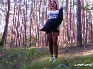 Beautiful amateur mature woman getting fucked in the woods by her man