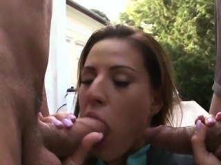 Babe anally pounded by two big cocks