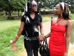 Naughty African lesbians bang in the shower