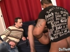 Hot wife has her man licking her twat and a black bull fucking her ass