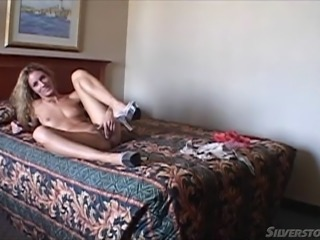 Wicked hot and utterly irresistible blonde in a hotel room