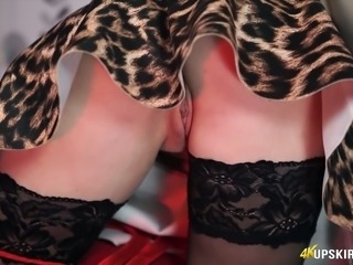 Honour May flashing her pussy upskirt in arousing solo softcore clip