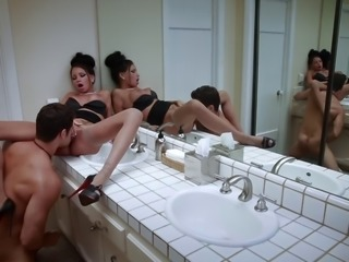Sweet brunette in high heels swallows cum after pounded in the toilet