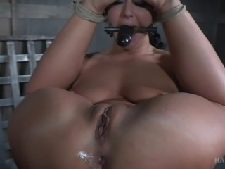 London silver in bondage stripped showcasing her pussy in BDSM