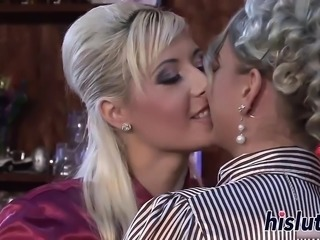 Sexy lesbian session with two classy blondes