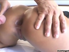 Long haired Latina babe in thong getting her anal drilled in a close up scene