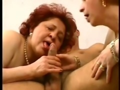Redhead dirty whores share one dick of a young white guy
