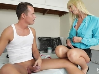 busty mommy caught him masturbating