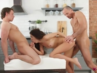 Extremely good threesome with a lustful bimbo willing to please